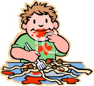 300x276 Colorful Cartoon Of A Messy Boy Eating Spaghetti And Meatballs