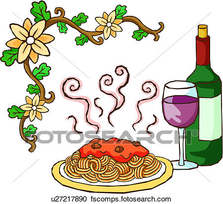 450x412 Stock Illustrations Of Meal Of Spaghetti And Wine U27217890