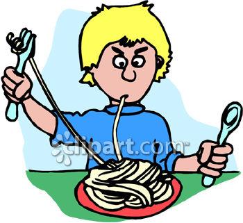 350x321 A Boy Having A Hard Time Eating Spaghetti Pasta