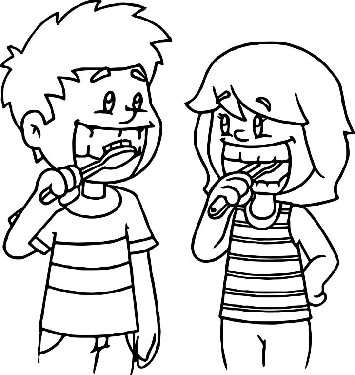 728x768 Brushing Teeth Coloring Page. Coloring Page. Toothpast Toothbruth