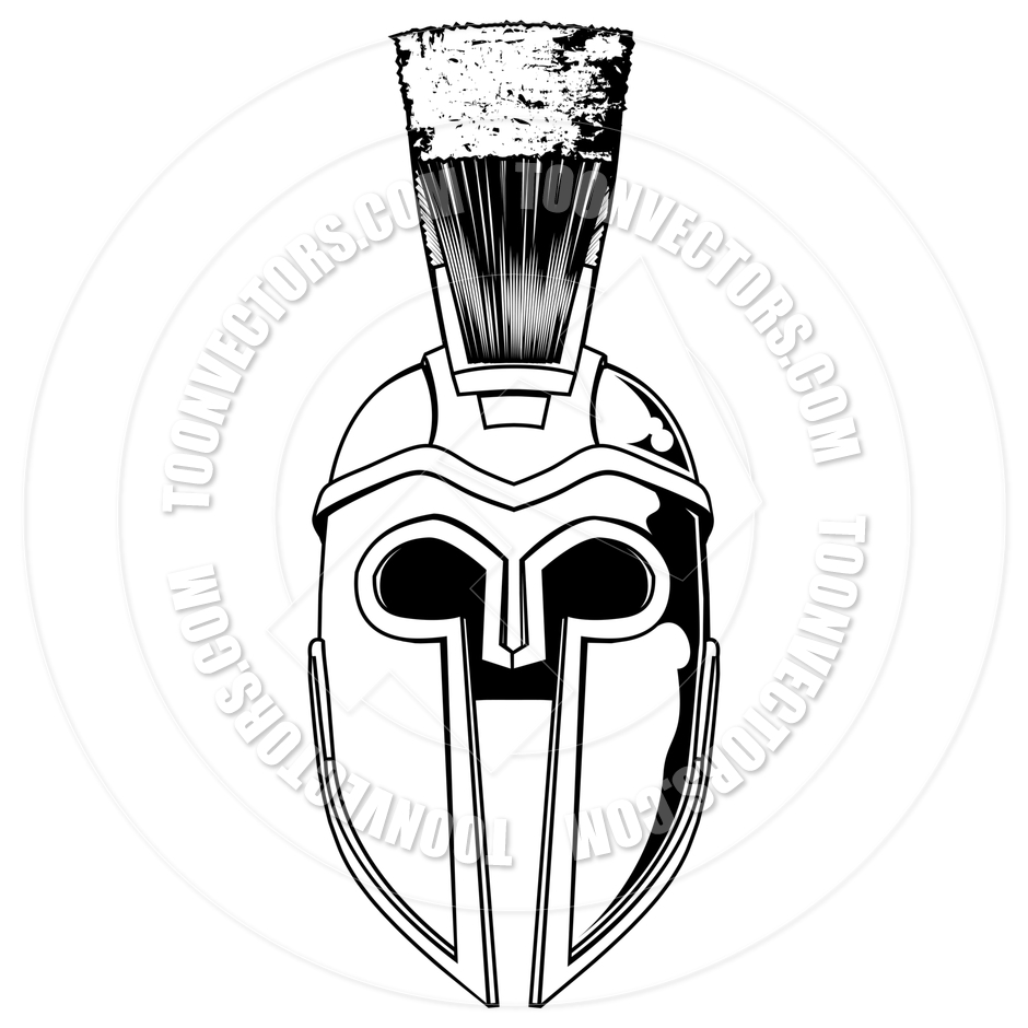 940x940 Monochrome Spartan Helmet Illustration By Geoimages Toon Vectors