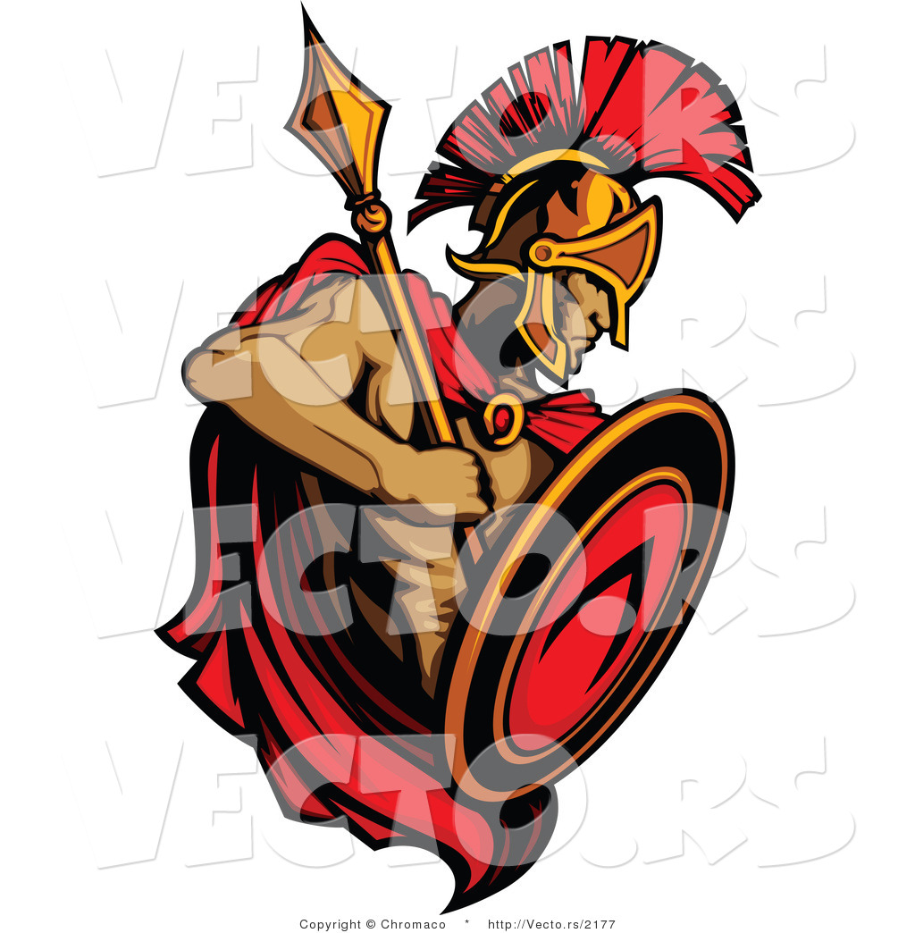 1024x1044 Vector Of A Roman Spartan Warrior With Shield And Spear By