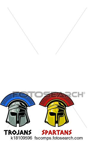 316x470 Clip Art Of Trojan And Spartan Helmet K18109596