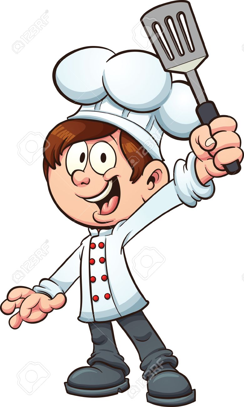 779x1300 Chef Boy Holding A Spatula. Vector Clip Art Illustration