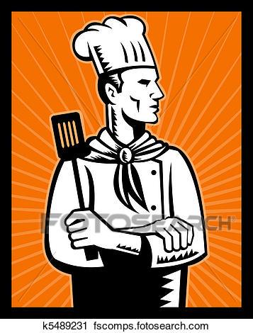 357x470 Clipart Of Retro Chef Cook Holding Spatula K5489231