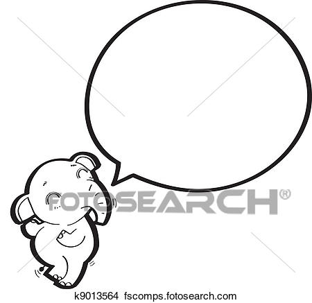 450x437 Clipart Of Cartoon Elephant With Speech Bubble K9013564