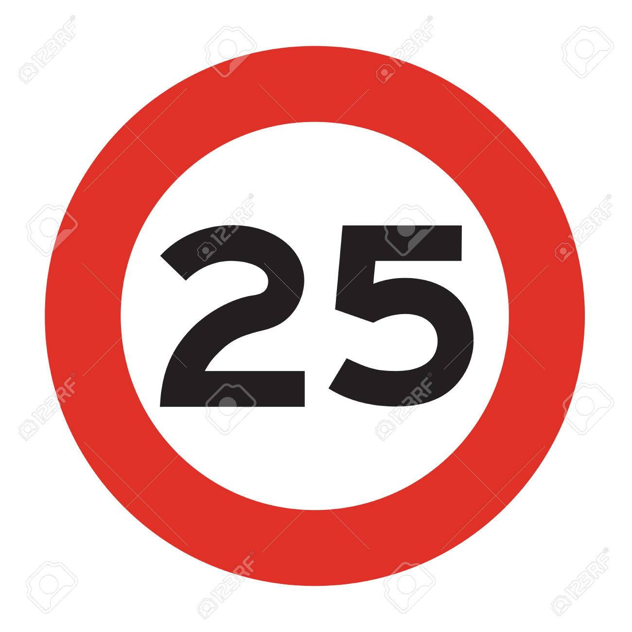1300x1300 Maximum Speed Is 25 Kmh. Speed Limit Road Sign. Vector
