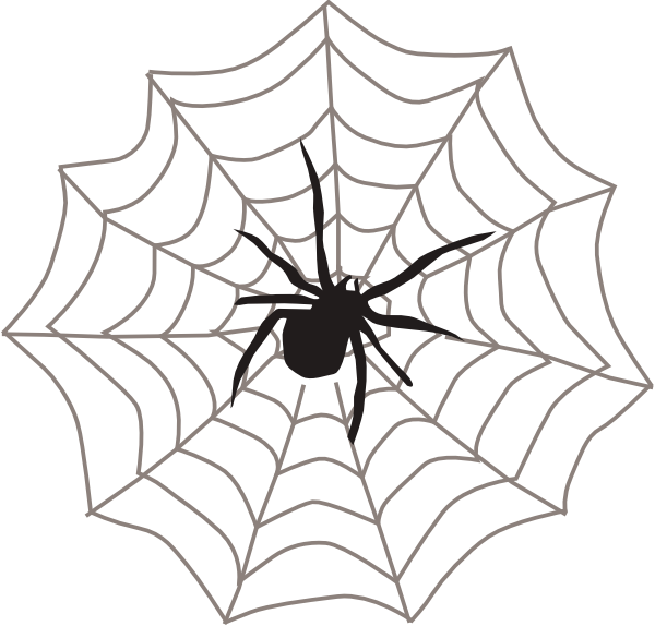 600x574 Spider With Web Clip Art