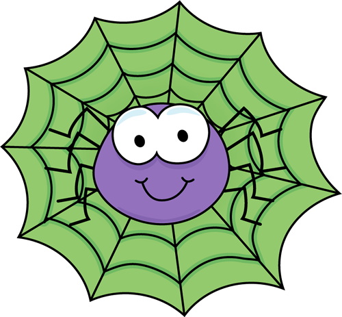 500x463 Spider in a Green Spider Web Clip Art