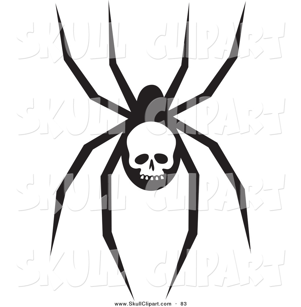 1024x1044 Vector Clip Art Of A Creepy Black Spider With A Skull Marking