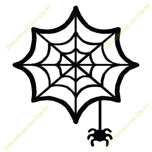 500x500 Spider Hanging From Web Clipart