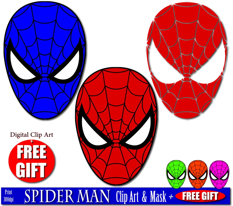 1500x1326 Digital Clip Art Spiderman Mask Superhero Party Masks Clipart