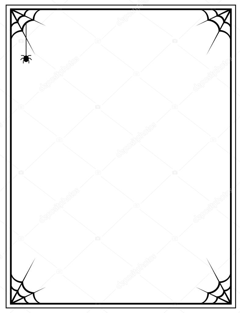 787x1023 black frame with spider web on a white background — Stock Vector