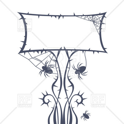 400x400 Square Ornamental Frame With Spiders, Thorns And Spider Web