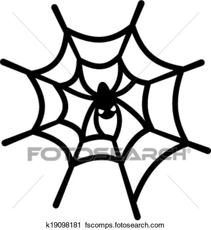 432x470 Clipart of Spider web and spider k19098181