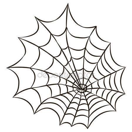 450x450 Halloween Black Spider Web Isolated On White Background. Stock