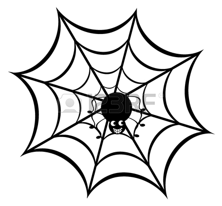450x418 Vector Illustration Of A Spider Web With Spider Royalty Free