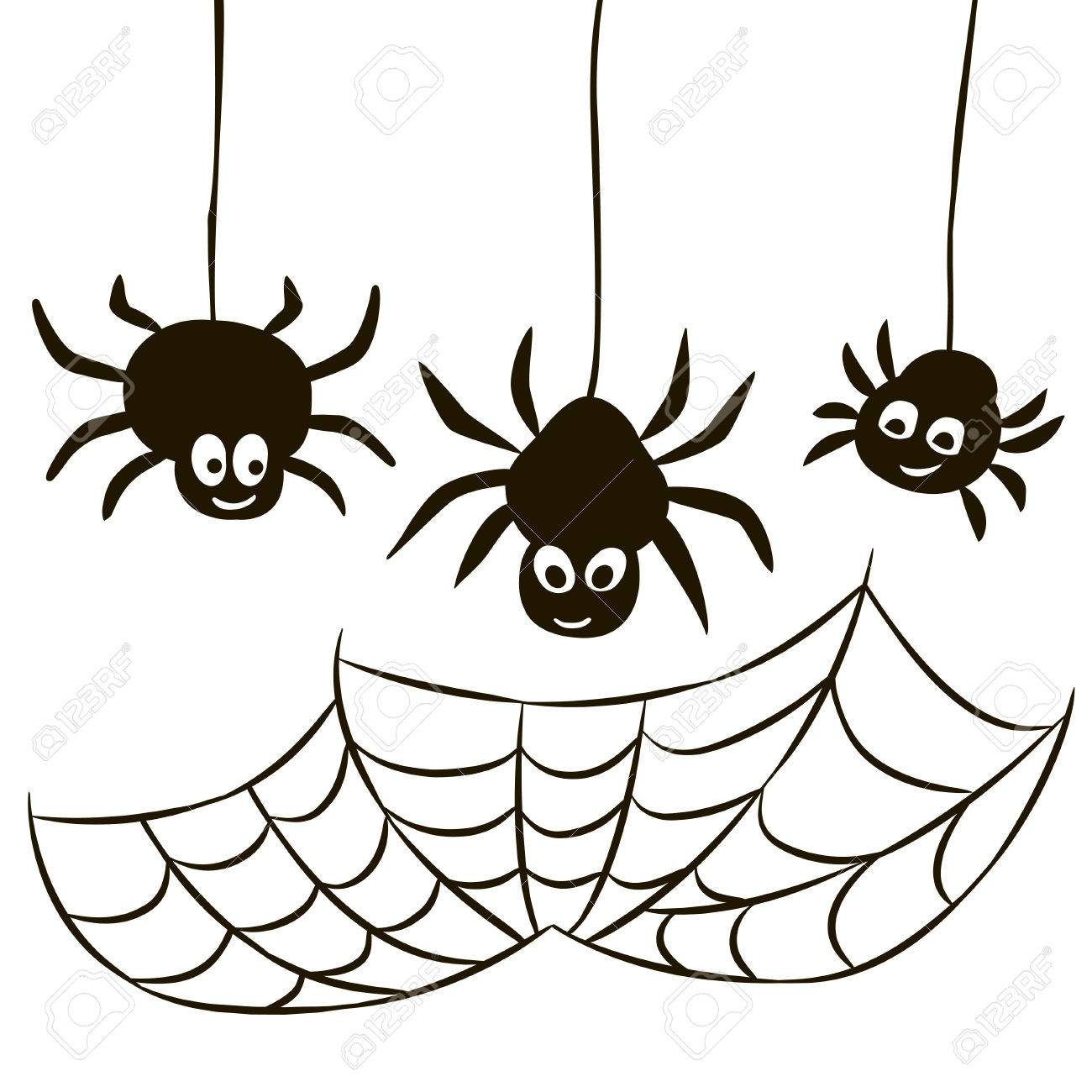 1300x1300 Halloween Set Of Spider Web And Three Spiders Isolated Royalty