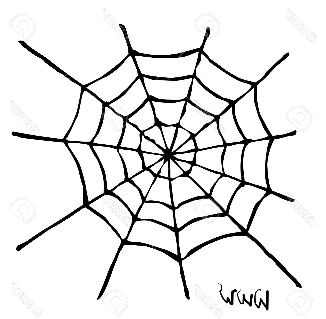 1300x1273 Best Free Creepy Spider Web Over White Background Stock Vector