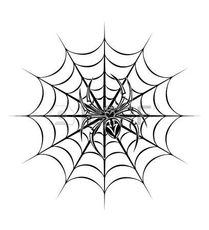 408x450 Spider On Web Clipart