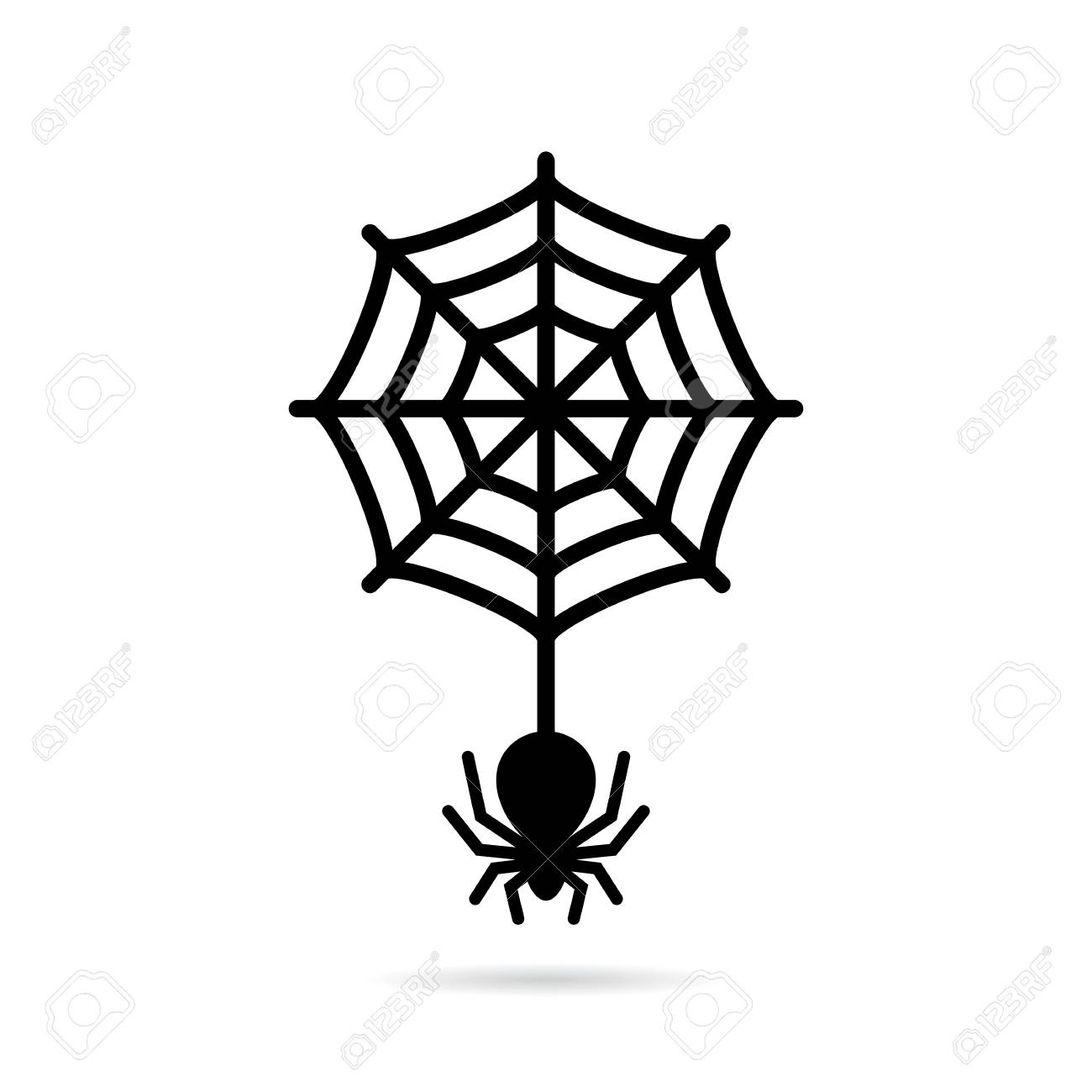 1300x1300 Wolf Spider And Circular Spiderweb Icon Royalty Free Cliparts