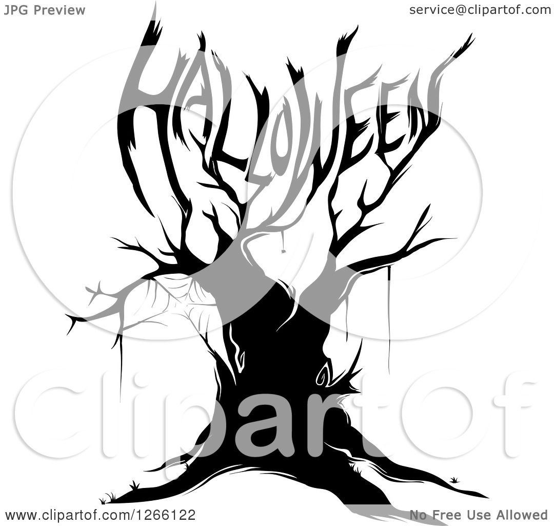 1080x1024 Clipart Of A Black Bare Tree With A Spider Web And Branches