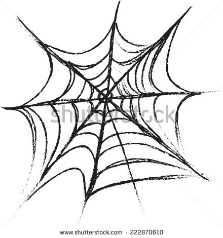 440x470 Drawn Spider Web Doodle