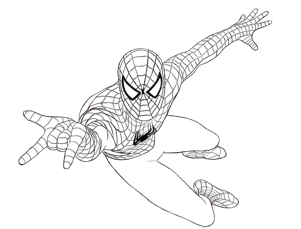 1280x973 Spiderman Clipart Coloring