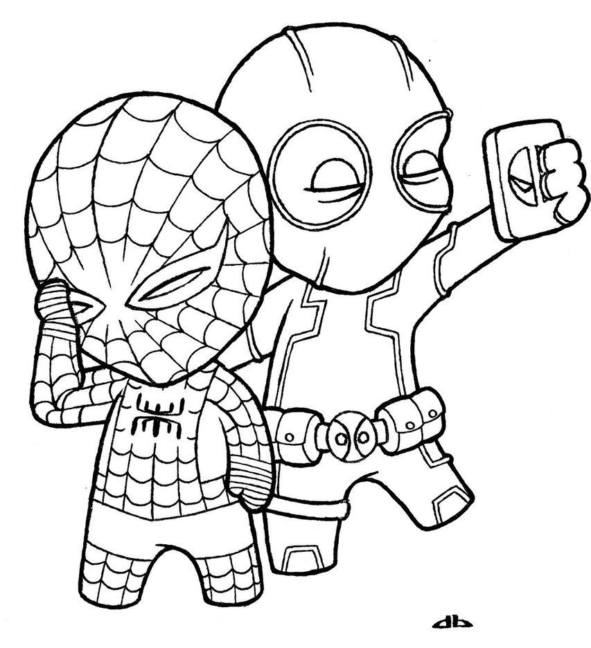 853x936 Little Deadpool And Little Spiderman By Josh308
