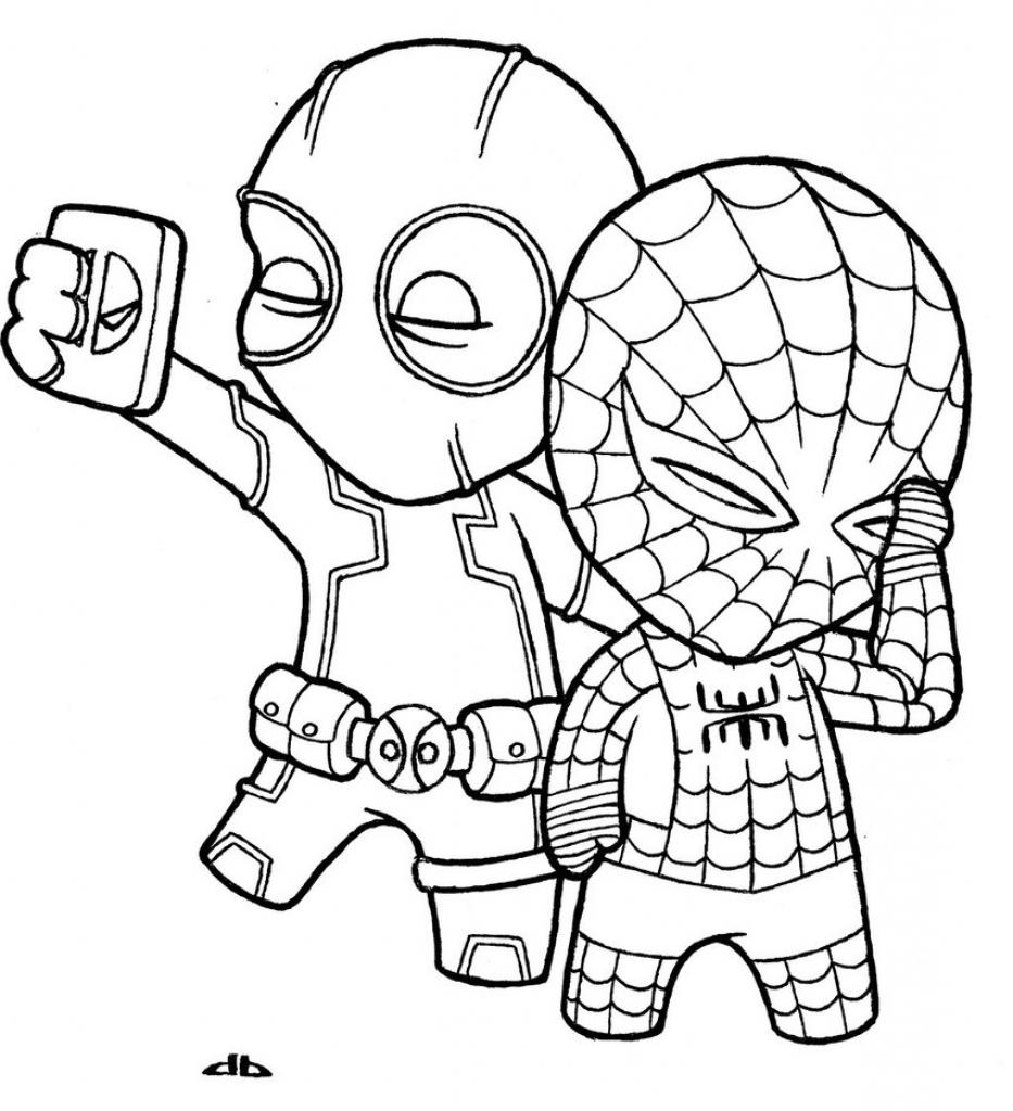 933x1024 simple spiderman drawing so cute deadpool the kid so