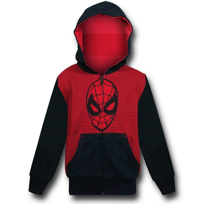 700x700 Spiderman Face Red Black Kids Reversible Hoodie