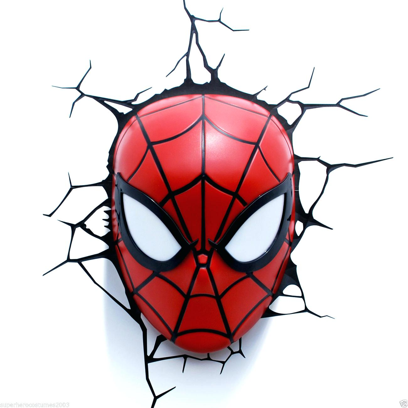 1300x1300 Spiderman Wall Light Marvel Avengers Spider Man Mask Head Face