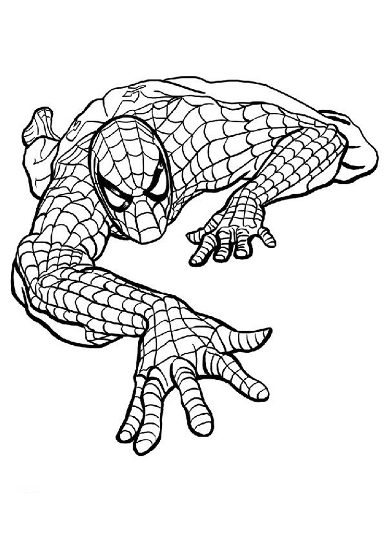 750x1061 Spiderman Clipart Coloring