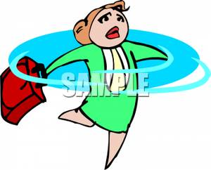 300x242 Businesswoman With A Briefcase Spinning In Circles