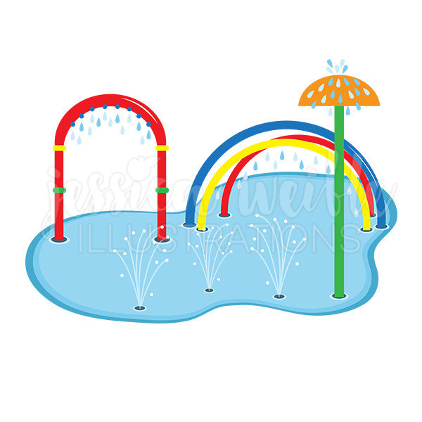 600x600 Splash Pad Clip Art Cute Digital Clipart Water Park Clip