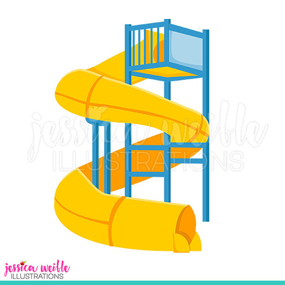 570x570 Super Water Slide Cute Digital Clipart, Water Park Clip Art