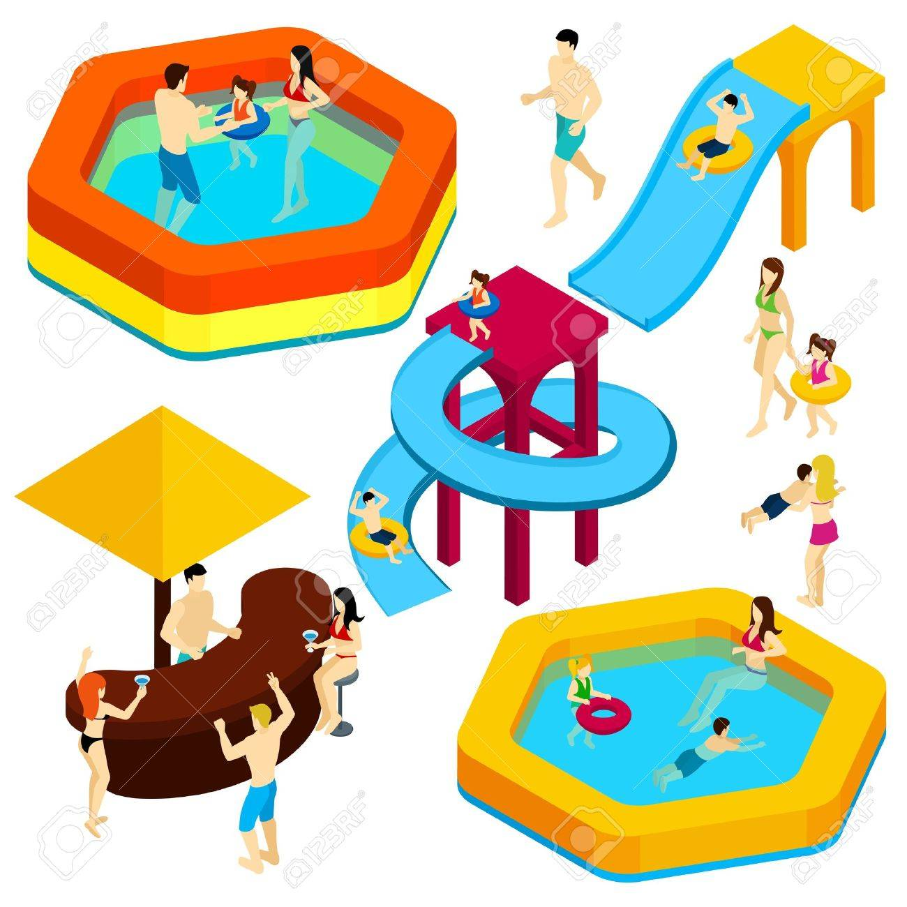 1300x1300 Water Amusement Park Playground With Slides And Splash Pads