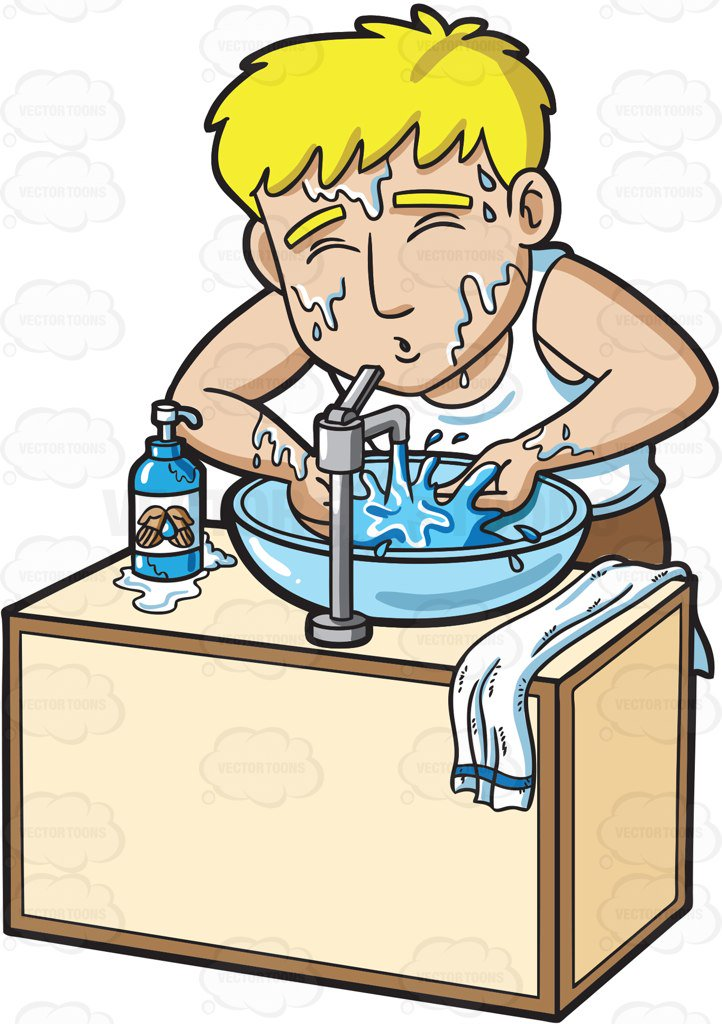 722x1024 A Man Splashing Water On His Face Cartoon Clipart