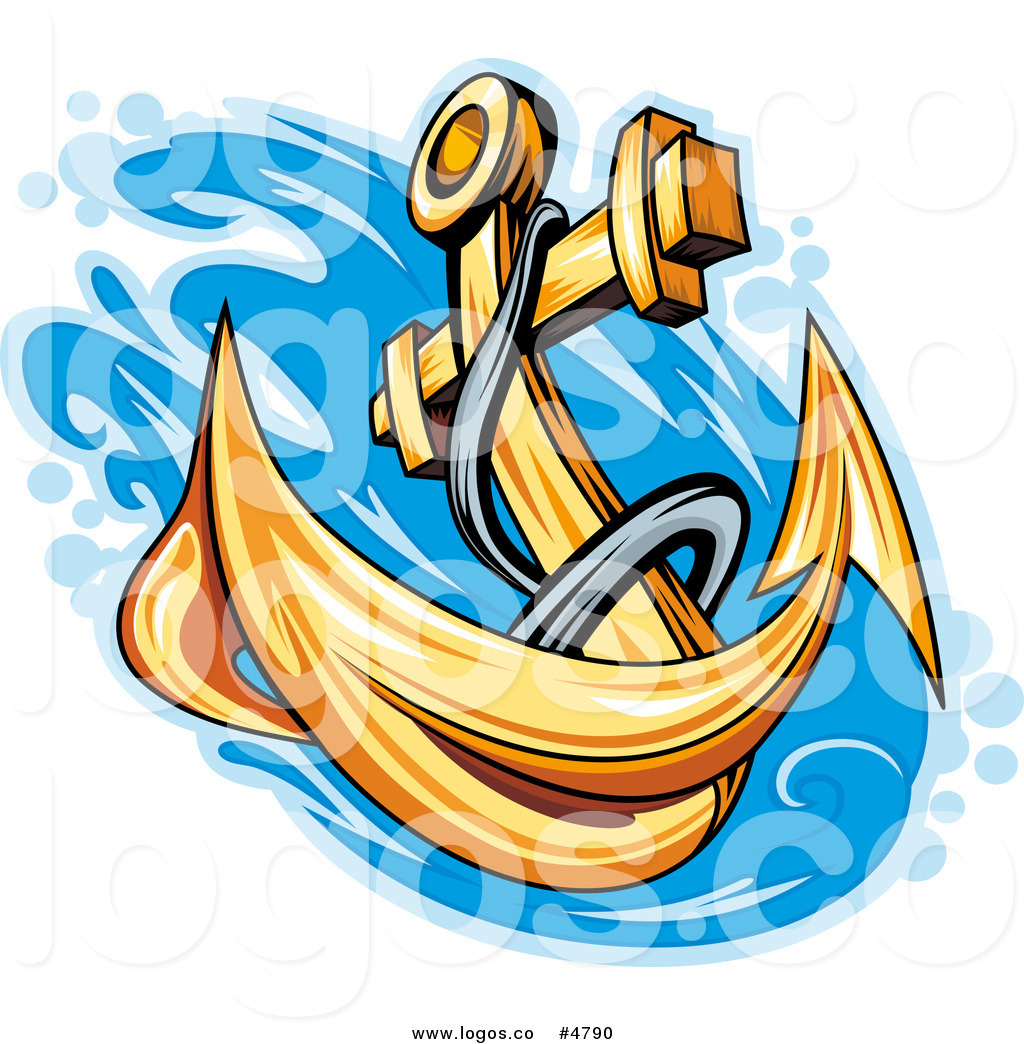 1024x1044 Royalty Free Vector Of A Gold Anchor Splashing Into Water Logo By