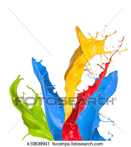 419x470 Stock Photography Of Colored Paint Splashes Isolated On White