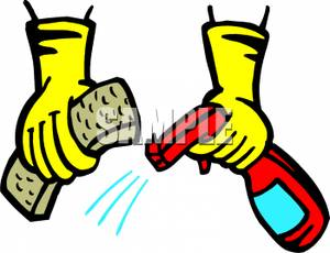 300x230 Hands Holding A Sponge And A Spray Bottle Clipart Image