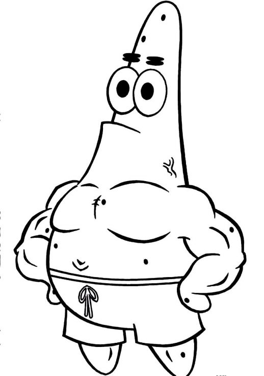 518x737 Patrick A Happy Starfish In Spongebob Coloring Pages
