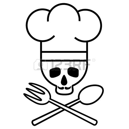 450x450 Skull Chef In Chef S Hat With Crossed Spoon And Fork. Logo, Icon