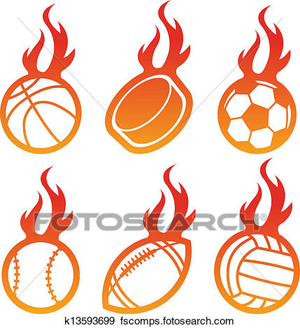 429x470 Clip Art Of Fire Sport Balls K13593699