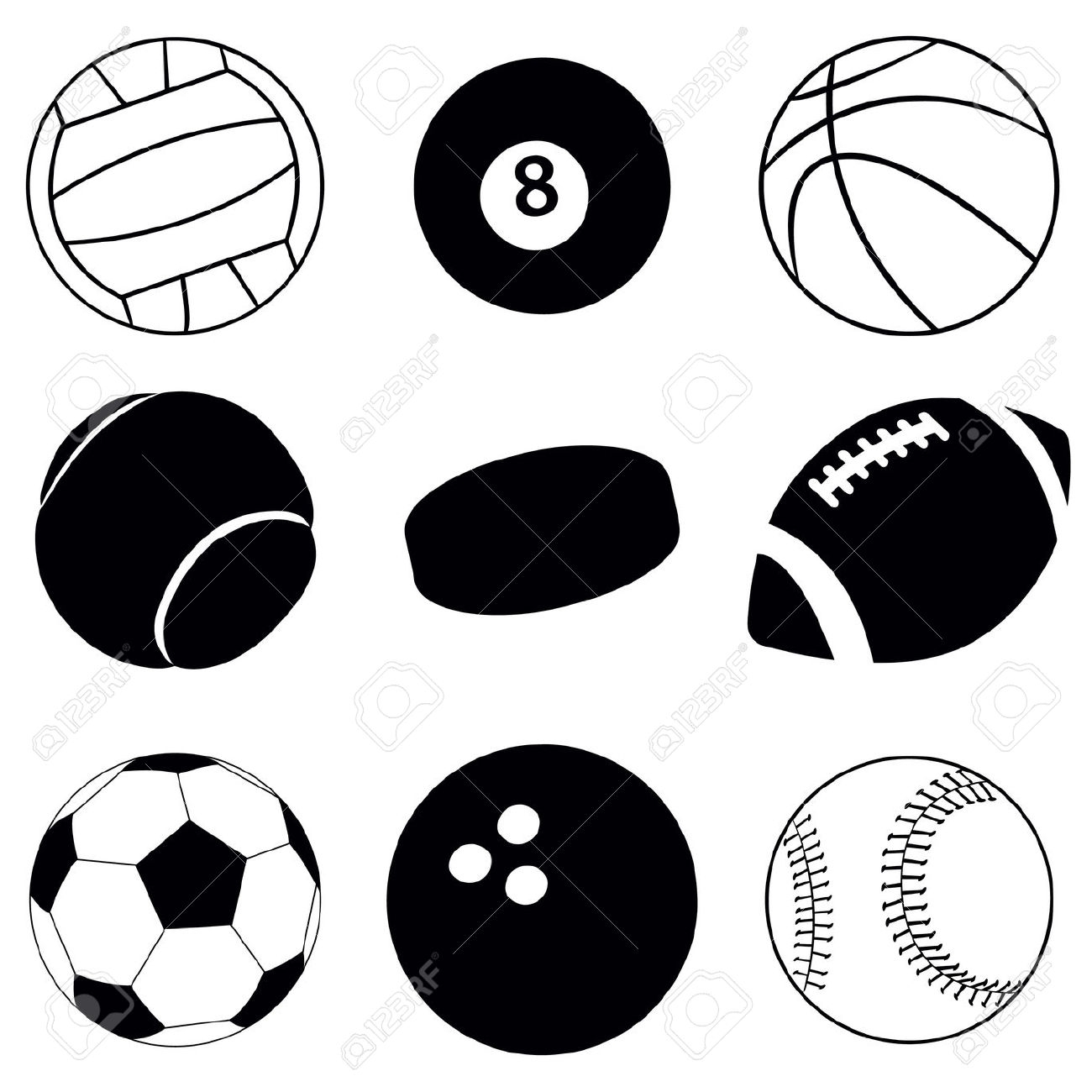 1300x1300 Sports Balls Clip Art Black And White 101 Clip Art