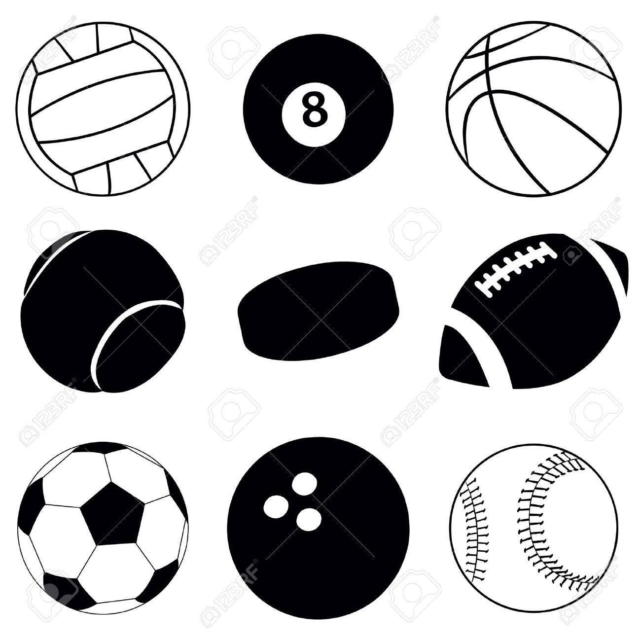 1300x1300 Sports Balls Clipart Black And White