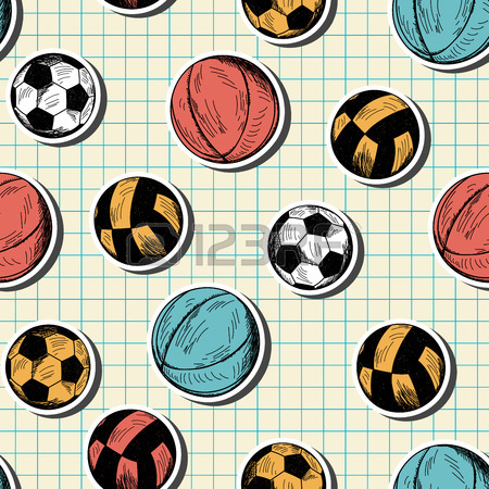 450x450 Seamless Pattern With Hand Drawn Different Sport Balls