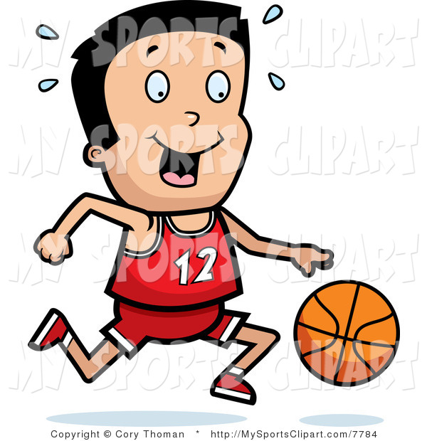 600x620 Sports Clip Art of a Boy with a Basketball by Cory Thoman