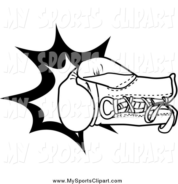 600x620 Sports Clip Art Of A Black And White Boxing Glove Throwing A Punch