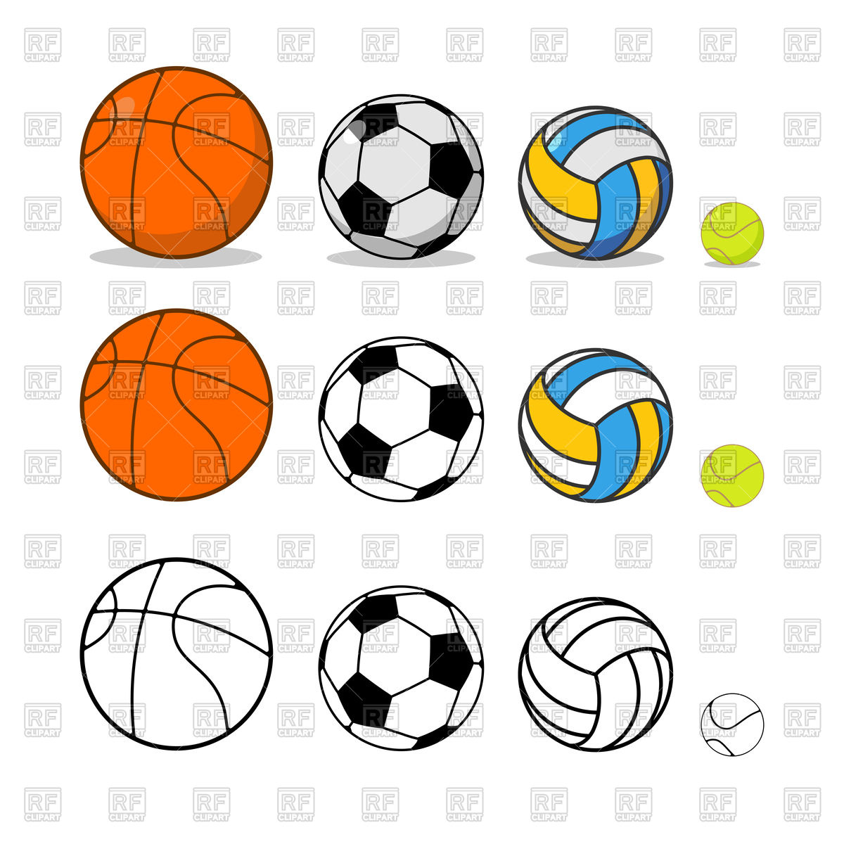 1200x1200 Sports Ball Set. Basketball And Soccer. Tennis And Volleyball
